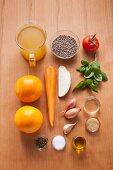 Ingredients for a colourful lentil salad