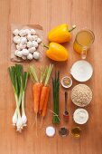 Ingredients for a rice and mushroom salad with a yogurt dressing
