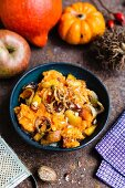 Pumpkin mash with caramelised apples, pumpkin pieces
