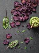 Purple sweet potato chips with guacamole