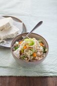 Light vegetable rice with shoots and feta