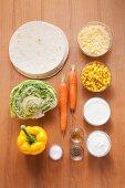 Ingredients for veggie wraps
