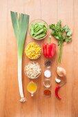 Ingredients for vegetarian stir-fried vegetables with shoots