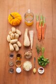 Ingredients for vegetarian oven-baked vegetables with walnut pesto