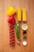 Ingredients for vegan vegetable skewers from the BBQ