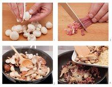 Fried mushrooms being prepared