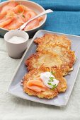 Potato fritters with smoked salmon and sour cream