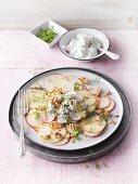 Apple carpaccio with walnuts and cress quark (Sirtfood)