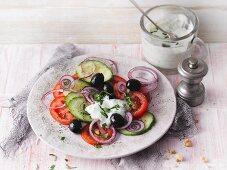 Turkish breakfast salad with feta yoghurt dressing (Sirtfood)