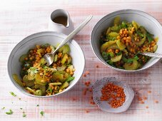 Vegan curry and lentil salad with celery (Sirtfood)