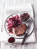Steak with blueberry and onion confit and red cabbage (Sirtfood)
