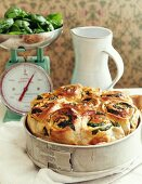 Yeast bread with spinach and mozzarella