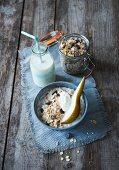 Basic muesli with raisins, milk and pear