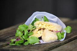 Cheese noodles in rice paper with a salad (finger food)