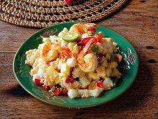 Shrimp with vegetable salad, Lombok island, Indonesia