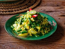 Vegetable salad with local string bean and potato, Lombok island, Indonesia