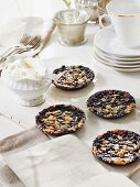Blueberry tarts with caramel