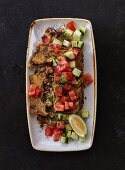 Kibbeh with mince, tomatoes and cucumbers (Lebanon)