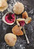 Flatbreads with a beetroot dip (Lebanon)