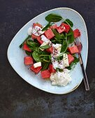 A salad with watermelon, feta and spinach (Lebanon)