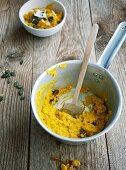 Vegan coconut milk and Hokkaido porridge with pumpkin seeds
