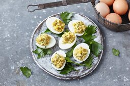 Mango curry eggs