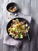 Romaine lettuce with chanterelle mushrooms