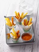 Oven-baked chips with paprika ketchup