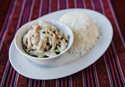 Mushroom Datshi with rice (Bhutan)