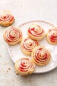 Quick and easy shortcrust pastry jam spirals