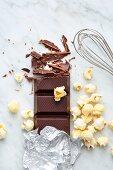 Dark melting chocolate and popcorn