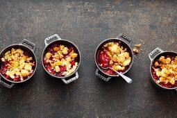 Mini berry crumbles