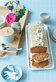 Carrot and pear cake with coconut (lactose-free, sugar-free)