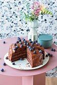 Vegan chocolate and blueberry cake (lactose-free)