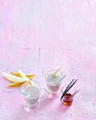 Vanilla and almond drink with honeydew melon and banana