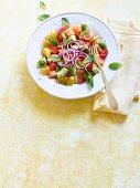 Rainbow tomato and melon salad with avocado