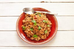 Salsa rice with coriander (vegan)