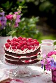 Summery red velvet cake with cream cheese and raspberries