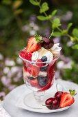 Two glasses of Eton mess fruit dessert