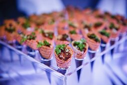 Party hors d'oeuvres served in ice cream cones