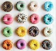 Sweet colorful and glazed American donuts