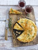 A mushroom and puff pastry pie, sliced