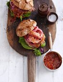 A wild boar burger with rose hip relish