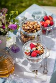 Honey granola with yoghurt and berries on a table outdoors