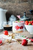 Strawberry cheesecake in a glass