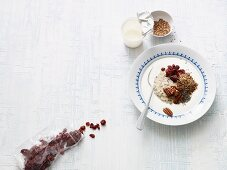 Breakfast quinoa with cranberries and pecan nuts