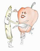 Asparagus dancing with a red pepper (illustration)