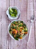 A fruity vegetable salad with broccoli, celery and apricots