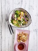 Cucumber salad with pineapple and avocado - 'green cooler' - and chicken breast fillets
