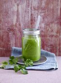 A spinach, celery, and apple smoothie - 'Tiger in the Jungle'